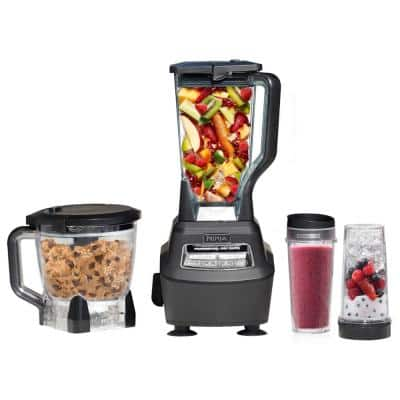 Mega Kitchen System 72 oz. 5-Speed Black Blender and Food Processor with Travel Cups (BL770)