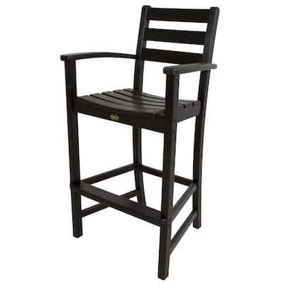Monterey Bay Charcoal Black Plastic Outdoor Patio Bar Arm Chair