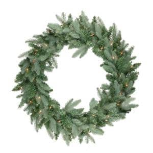 National Tree Company 36 In Norwood Fir Artificial Wreath With Clear Lights Nf 36wlo 1 The Home Depot
