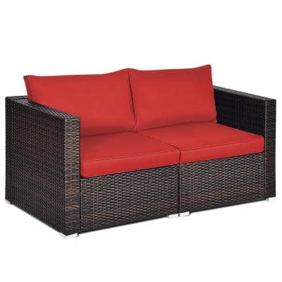 Brown 2-Piece Wicker Outdoor Loveseat Sofa with CushionGuard Red Cushions