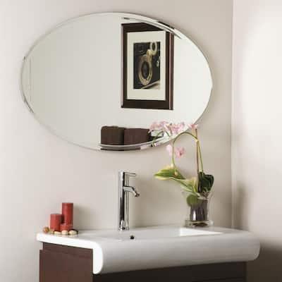 40 in. W x 24 in. H Frameless Oval Bathroom Vanity Mirror in Silver