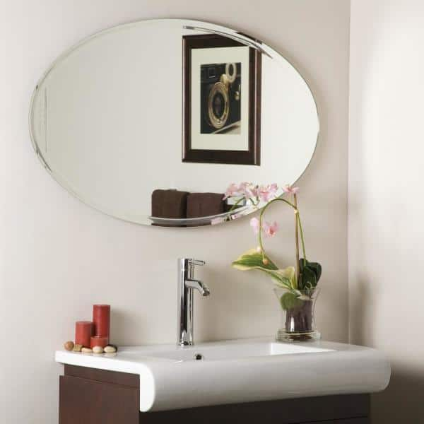 H Frameless Oval Bathroom Vanity Mirror, Large Oval Mirror Bathroom