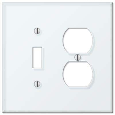Acrylic 2 Gang 1-Toggle and 1-Duplex Acryilic Wall Plate - Mint White