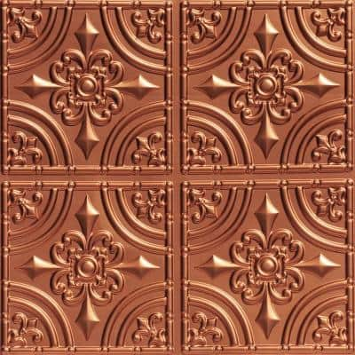 Wrought Iron 2 ft. x 2 ft. Glue Up PVC Ceiling Tile in Copper