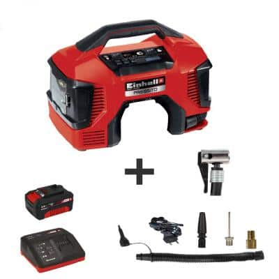 Einhell PXC 18-Volt Cordless Hybrid AC/DC Portable Tire Inflator/Deflator Compressor Kit w/ 3.0-Ah Battery Plus Fast Charger