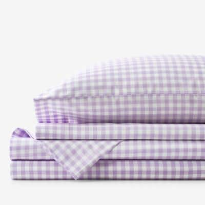 Company Kids Gingham 3-Piece Lilac Plaid 200-Thread Count Organic Cotton Percale Twin Sheet Set