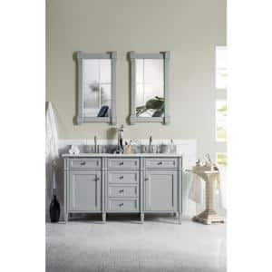Brittany 60 in. W Double Bath Vanity in Urban Gray with Marble Vanity Top in Carrara White with White Basin