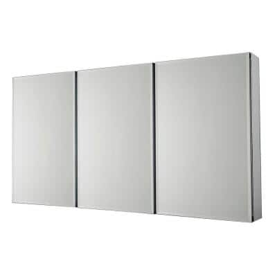 36 in. x 31 in. Recessed or Surface-Mount Tri-View Bathroom Medicine Cabinet with Beveled Mirror
