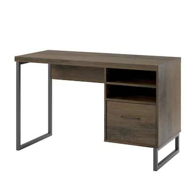 45 in. Sonoma Mocha Oak Rectangular 1 -Drawer Computer Desk with Open Shelves