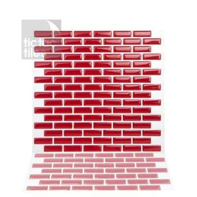 10-Sheets 10 in. x 10 in. Brick Red Peel and Stick Self-Adhesive Mosaic Wall Tile Backsplash 10 sq.ft. Pack