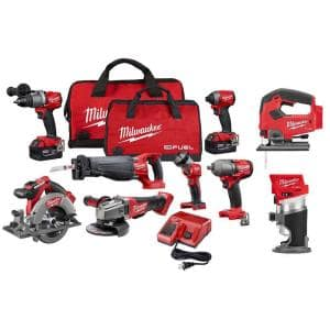 M18 FUEL 18-Volt Lithium-Ion Brushless Cordless Combo Kit (9-Tool) W/(2) 5.0 Ah Batteries, (1) Charger, (2) Tool Bags