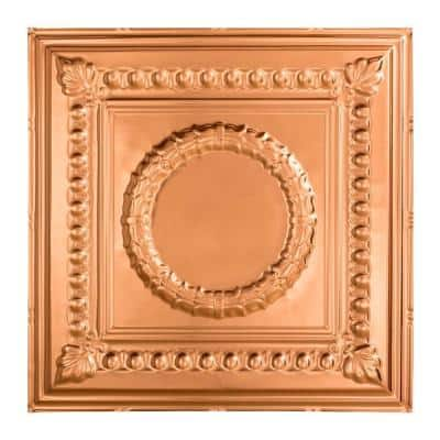 Rosette 2 ft. x 2 ft. Polished Copper Lay-In Vinyl Ceiling Tile (20 sq. ft.)