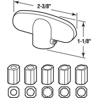 Universal, Aluminum Tee-Crank Casement Window Handle (2-pack)