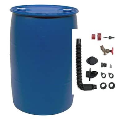55 Gal. Blue Plastic Drum DIY Rain Barrel Bundle with Diverter System
