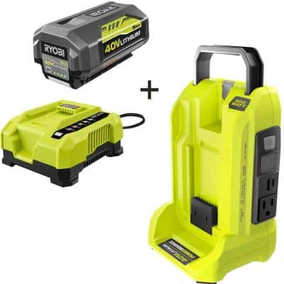 300-Watt Power Inverter for 40V Battery with 5.0 Ah Battery and Rapid Charger