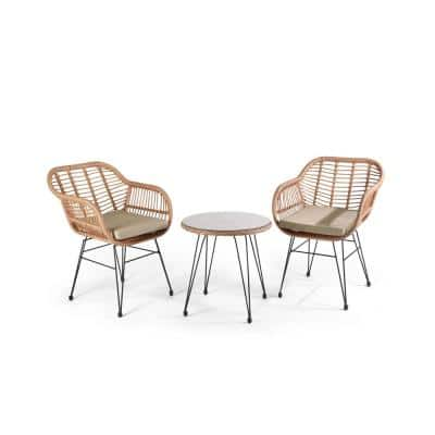 MYSTIC 3-Pieces Wicker Outdoor Patio Conversation Set with Cushions, Beige