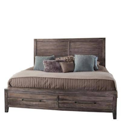 Aurora Weathered Gray King Panel Bed with Storage