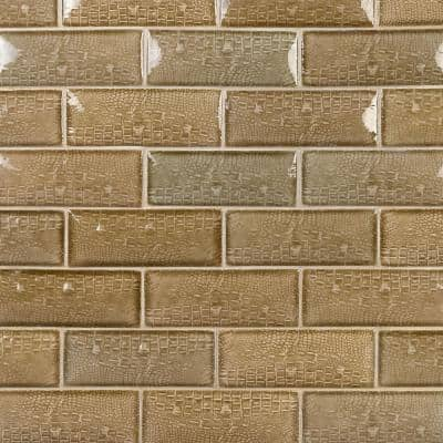 Dallas Pillowed Leather Brown 3 in. x 8 in. 12mm Polished Crackled Ceramic Subway Wall Tile (20-Piece/3.27 sq. ft./Box)