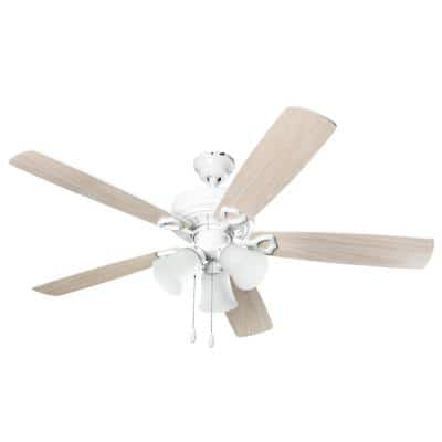 3-Light 52 in. Indoor Light Wood White Ceiling Fan With Light Kit