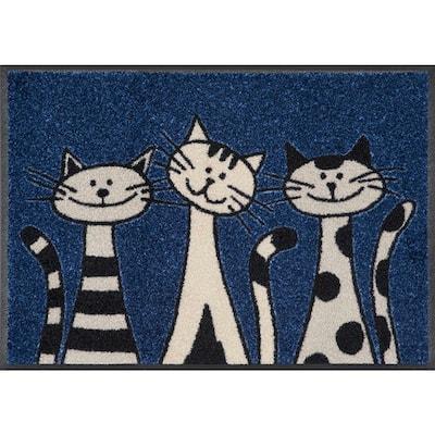 Whimsy Three Cats 20 in. x 30 in. Nylon Doormat