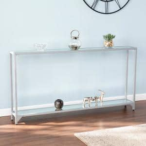 Greene 56 in. Silver Rectangle Glass Console Table with Shelves