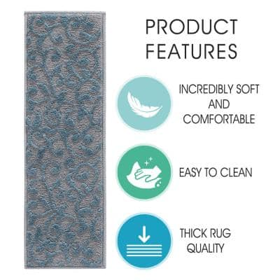 Leaves Collection Teal 9 in x 28 in Polypropylene Stair Tread Cover (Set of 4)