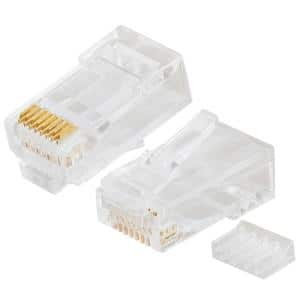 RJ45 Cat6 Connector Round-Solid 3-Prong 8P8C with Liner (2-Piece)