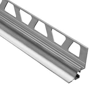 Dilex-AHKA Brushed Chrome Anodized Aluminum 5/16 in. x 8 ft. 2-1/2 in. Metal Cove-Shaped Tile Edging Trim