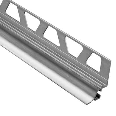 Dilex-AHKA Brushed Chrome Anodized Aluminum 5/16 in. x 8 ft. 2-1/2 in. Metal Cove-Shaped Tile Edging Trim