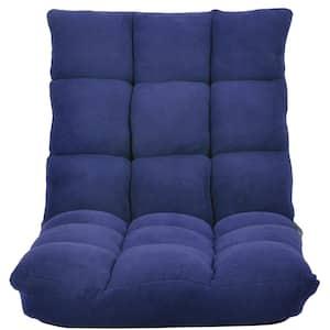 Navy Blue Coral Fleece Fabric Lounge Adjustable Folding Floor Sofa Chair