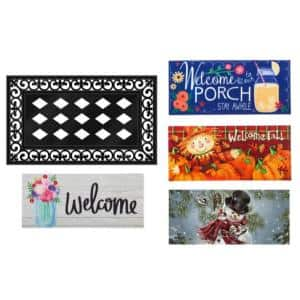 22 in. x 10 in. Four Seasons Sassafras Switch Mat Collection w/ Decorative Rubber Frame (Set of 5)
