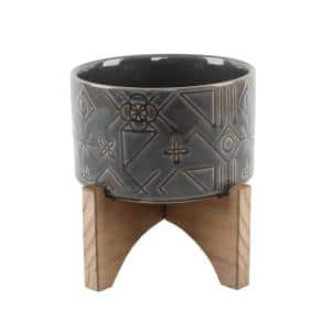 5 in. Glass Charcoal Black Pinwheel Ceramic Planter on Wood Stand Mid-Century Planter