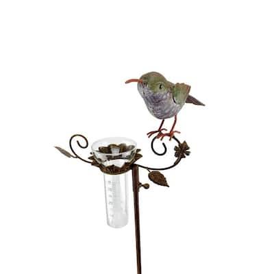 Metal Rain Gauge Hummingbird