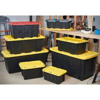 7 Gal. Tough Storage Tote in Black with Yellow Lid
