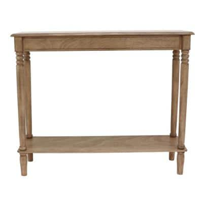 Sahara 29 in. Brown Oak Rectangle Wood Console Table with Storage