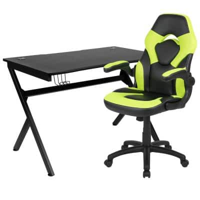 45.25 in. Black Gaming Desk and Chair Set