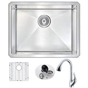 VANGUARD Undermount Stainless Steel 23 in. Single Bowl Kitchen Sink and Faucet Set with Accent Faucet in Brushed Satin