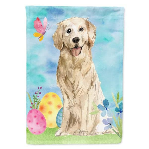 Caroline S Treasures 28 In X 40 In Polyester Easter Eggs Golden Retriever Flag Canvas House Size 2 Sided Heavyweight Ck1915chf The Home Depot