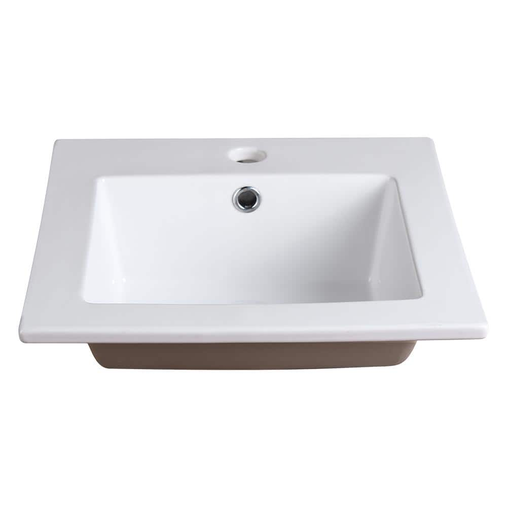 Fresca Allier 16 In Drop In Ceramic Bathroom Sink In White With Integrated Bowl Fvs8118wh The Home Depot