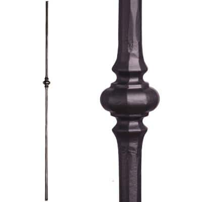 Tuscan Round Hammered 44 in. x 0.5625 in. Satin Black Single Knuckle Solid Wrought Iron Baluster