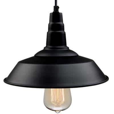 Versatile 10 1/5 in. W 1-Light Black Indoor Ceiling Barn LED Compatible Pendant Light
