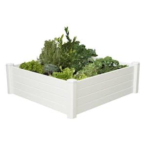 4 ft. x 4 ft. x 15 in. White Vinyl Raised Garden Bed