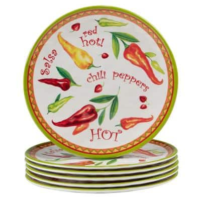 Red Hot Multicolored Melamine Salad Plate 9 in. (Set of 6)