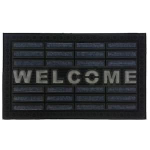 Synthetic Gray Welcome 30 in. x 18 in. Rubber Door Mat