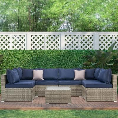 Gray 7-Piece Wicker Sectional Seating Set with Blue Cushions