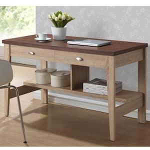 47.2 in. Natural/Dark Brown Rectangular 2 -Drawer Writing Desk with Storage