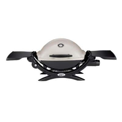 Q 1200 1-Burner Portable Tabletop Propane Gas Grill in Titanium with Built-In Thermometer