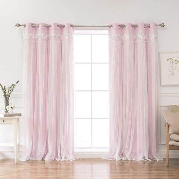 Best Home Fashion New Pink Solid Grommet Room Darkening Curtain 52 In W X 96 In L Set Of 2 Grom Bo Elis 96 Newpink The Home Depot