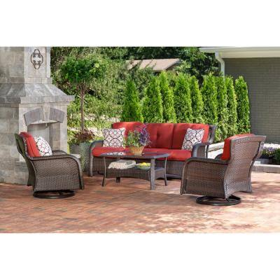 Strathmere 4-Piece Wicker Patio Sectional Seating Set with Crimson Red Cushions