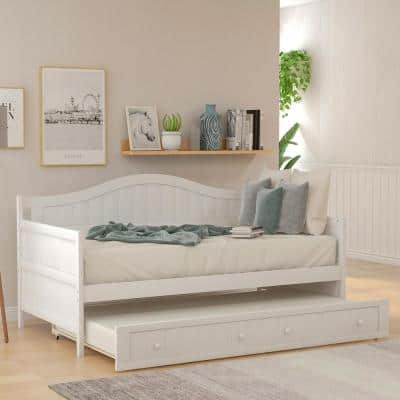 White Twin Wood Daybed with Trundle